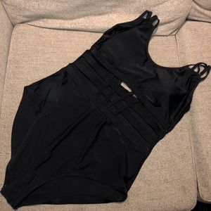 Black one piece with cut outs